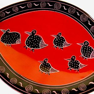 Swan dish soapstone red