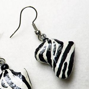 Earrings Africa - Zebra pappmaché