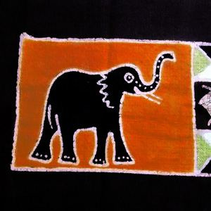Hand painted table runner with elephant and zebra