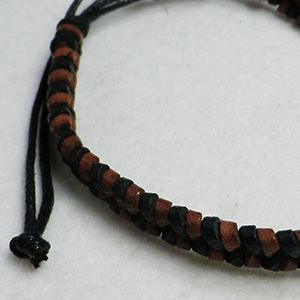Thin leather bracelet (black/brown) 02