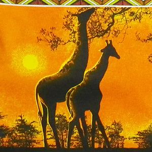 Shopper black, Giraffes, sunset