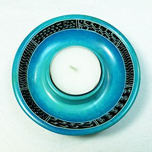 Tealight holder, turquoise