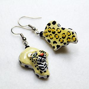 Earrings Africa - Leopard 3D pappmaché
