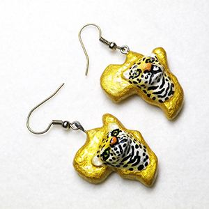Earrings Africa - Leopard 3D gold, pappmaché