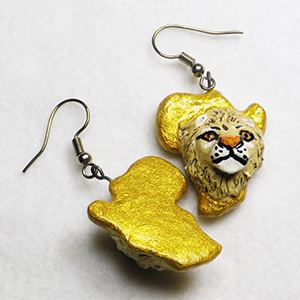 Earrings Africa - Lion 3D gold, pappmaché