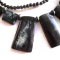 Long bone/wood necklace - black/grey mix