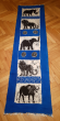 Hand painted table runner with the Big5, blue