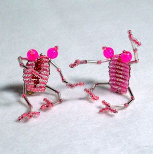 Very cute beaded frog pink