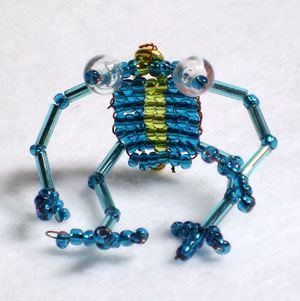 Very cute beaded frog turquoise/gold