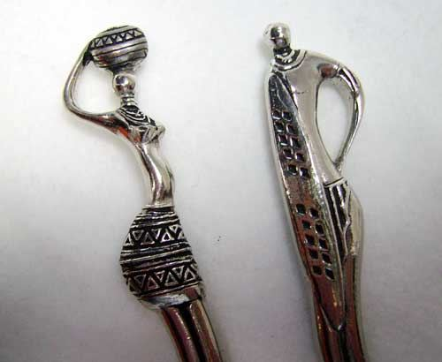 Teaspoon set pewter - Tribal