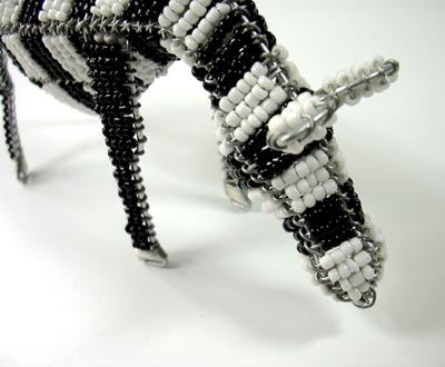 Wire art Zebra with white ears